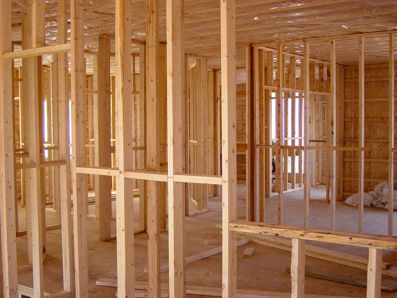 wood supports on new construction home