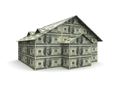 hundred dollar bills in the shape of a house