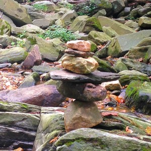 A hiking cairn is placed on a trail at the Carderock Recreation Area in Carderock, MD